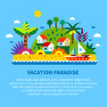 House on island in tropics summer vacation vector flat illustration Royalty Free Stock Image