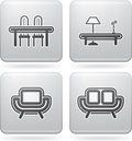 House items related objects tools from left to right top to bottom table and chair living room coffee table chair sofa all icons Royalty Free Stock Photo