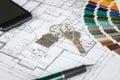 House Key On Blueprint