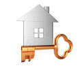 House on key white background d rendered image Royalty Free Stock Photos