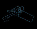 House keys d xray blue transparent isolated on black background Royalty Free Stock Image