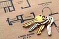 House Keys on Real Estate Housing Floor Plans Royalty Free Stock Photo