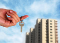 House keys to her new condo with blue sky Stock Photography
