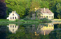 House on the lake with ducks idyllic landscape in france Stock Photos