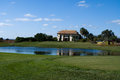 House with lake and miny golf a Royalty Free Stock Image