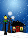 House and Lamp Post in Winter Christmas Scene Stock Photos