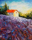House in lavender field - Original oil painting on canvas -