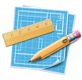 House layout planning concept vector illustration of with architecture plan wooden ruler and sharpened yellow pencil over it Royalty Free Stock Photos