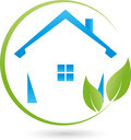 House and leaves, plant, real estate and eco house logo