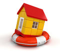 House and lifebuoy clipping path included image with Royalty Free Stock Photo