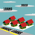House loans abstract colorful background with small houses and the text written on clouds and across a road Royalty Free Stock Photography