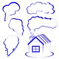 House logo with a smoke vector illyustation Royalty Free Stock Photo