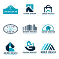 House logo vector set design (sea Blue and dark blue tone) Royalty Free Stock Photo