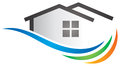 House logo a wave home icon Royalty Free Stock Photo