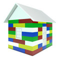 House made of colored children's blocks Stock Photos