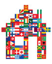 House made of flags flag icons Royalty Free Stock Image