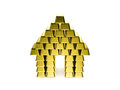House made of golden bars Royalty Free Stock Photo