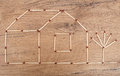 House made from matches. Royalty Free Stock Photo