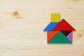 House made from tangram puzzle Royalty Free Stock Photo