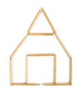 House made of wooden pencils. Royalty Free Stock Photo