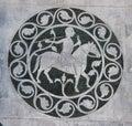 House man in a decorative circle on the Chiesa dei Santi Giovanni e Reparata Royalty Free Stock Photo
