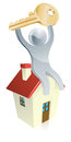 House man and key illustration of happy silver mascot sitting on a with a in his hands real estate concept Royalty Free Stock Images