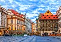 The House at the Minute in Old Town Square of Prague, Czech Republic Royalty Free Stock Photo