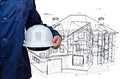 House model construction hard hat in hand Royalty Free Stock Photos