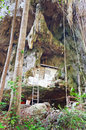 House of monk in a rock in the ancient forest tiger temple wat tham suea krabi thailand Stock Photo