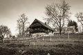 House monochrome photo of old traditional farmhouse styria austria Stock Photography