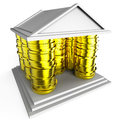 House mortgage represents borrow money and building indicating finance Stock Photo