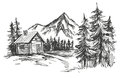 House in mountain landscape hand drawn vector illustration sketch Royalty Free Stock Photo