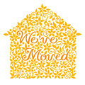 House moving greeting card we've moved Stock Image