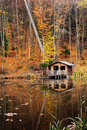 House near the lake autumn Stock Image