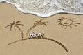 House near sea beach sun and palm trees holiday concept Stock Photos