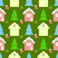 HOUSE new year seamless pattern, bell,