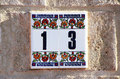 House Number 13 in Tiles Stock Image