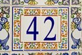 House number on a wall in spain Royalty Free Stock Images