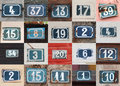 House numbers collage of weathered on the wall Stock Image