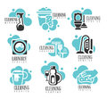 House And Office Cleaning Service Hire Labels Set, Logo Templates For Professional Cleaners Help For The Housekeeping Royalty Free Stock Photo