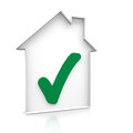 House ok with check mark inside Royalty Free Stock Photos