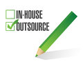 In house outsource check mark illustration design over white Stock Photography