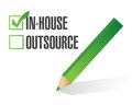 In house outsource check mark illustration design over white Stock Images