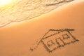 House painted on beach sand travel sea Stock Photos