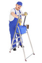 House painter ladder over white background Royalty Free Stock Photography