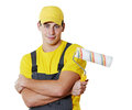 House painter portrait man worker with painting roller Royalty Free Stock Photography