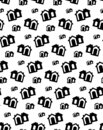 stock image of  House pattern vector black. Cute home apartment background
