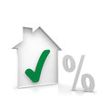 House and percent a green symbol Stock Image