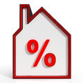 House and percent sign displaying investment real estate or discount Royalty Free Stock Photography
