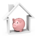 House and piggy bank d generated picture of a Royalty Free Stock Photos